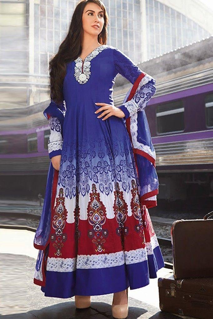 Blue  long readymade anarkali  style dress  in cotton  fabric, #kaseesh #Eid #Dressesforocassion #Anarkalisuits #DesignerAnarkaliSuitsOnline #EthnicWear #IndianEhtnicWear #BollywoodAnarkaliSuits #EthnicWearforwomen #AsianEthnicWearforwomen #lorensuits #loren