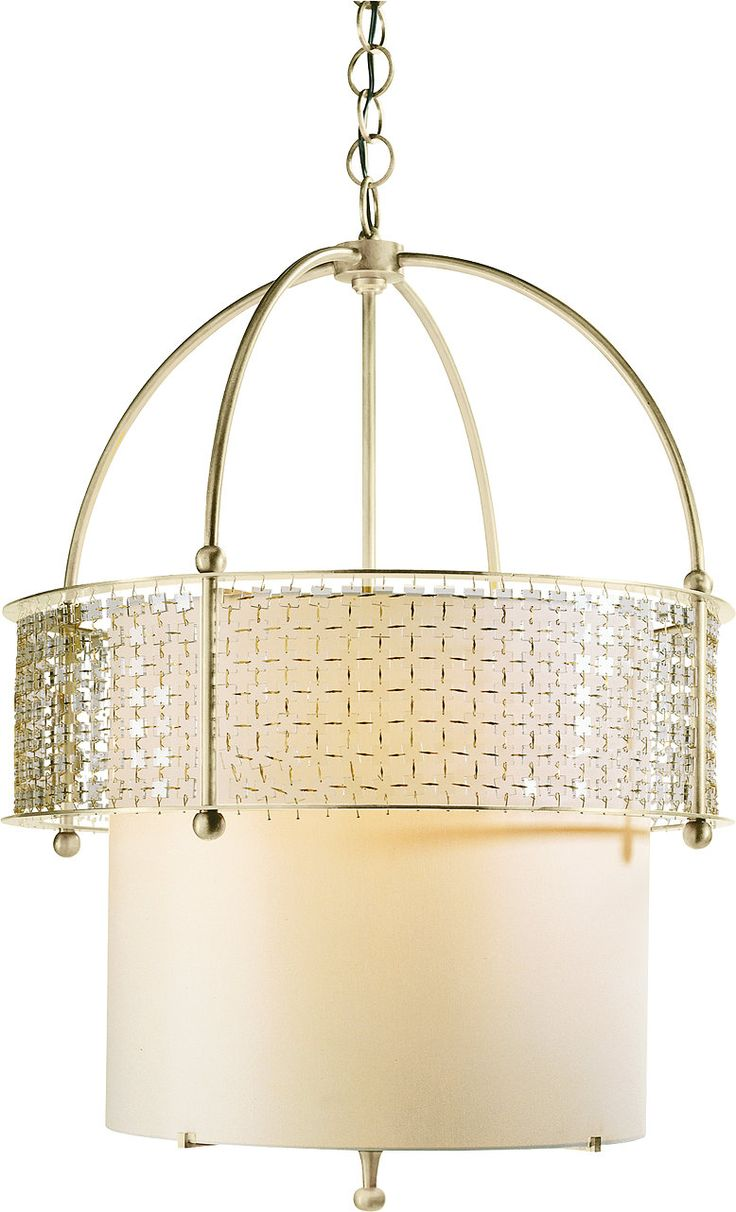 With brass patinaed crown and accents, the four-light Bracelet Chandelier creates a glittering, patterned mosaic. The chandelier is fitted with an Ivory chinette shade that softly diffuses the light that cascades through an intricate veil of small glass tiles.