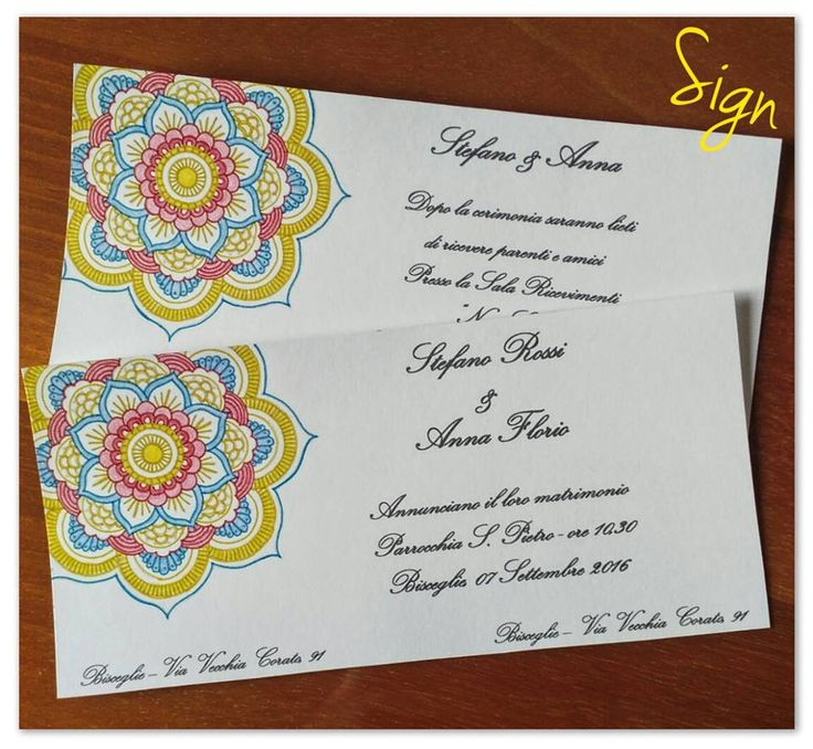 Invito Cerimonia Mandala