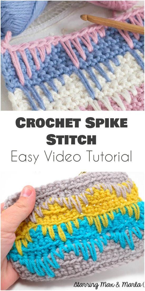 Spike Stitch - Easy Video Tutorial   Patrones crochet   Pinterest ...