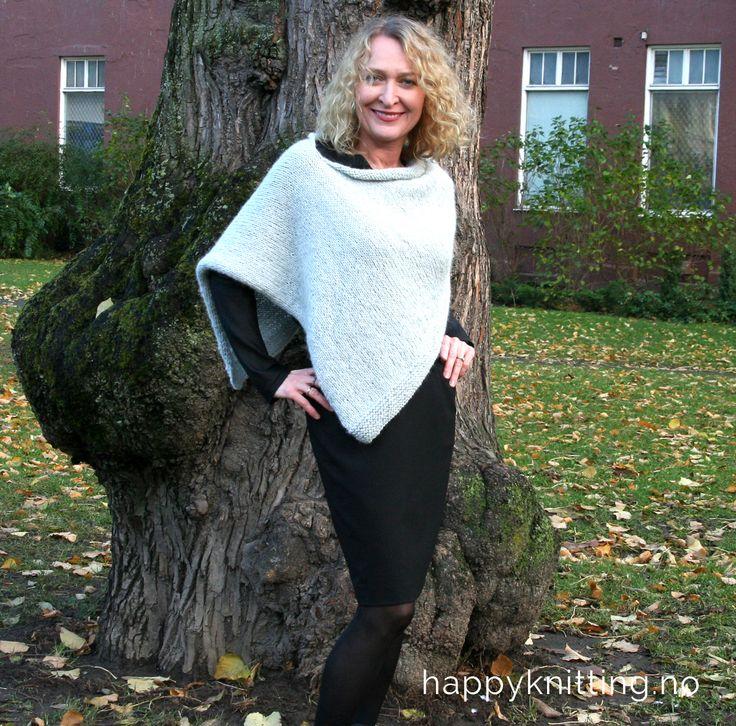 Gratis strikkeoppskrift på Helenes poncho i nettbutikken