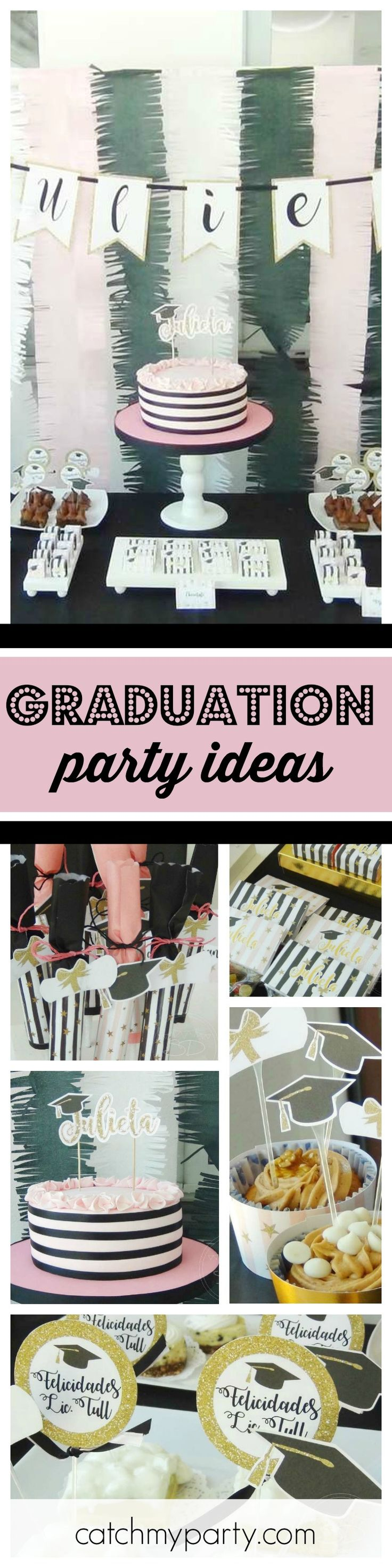 Celebrate in style with this fabulous Graduation party. The pink, white and black dessert table is so cool!! See more party ideas and share yours at CatchMyParty.com