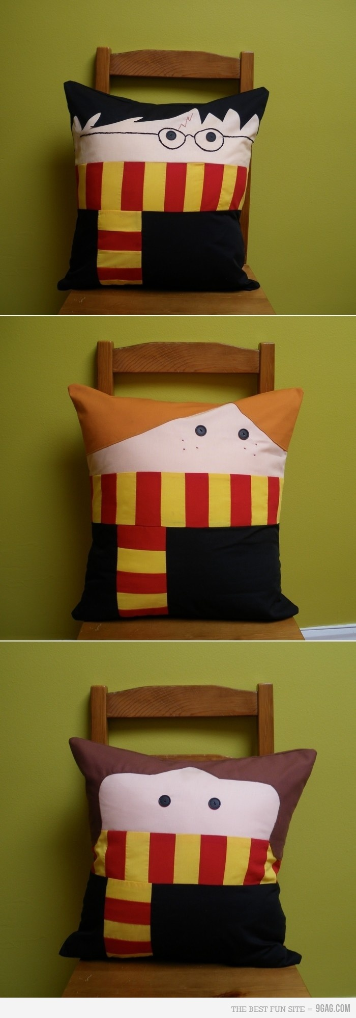 Griffindor! Harry Potter pillows for Ron, Hermione and of course, Harry.  #pilows #griffindor #harrypotter #ronweasly #hermionegranger