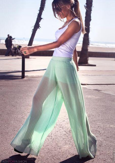 sea green chiffon pants