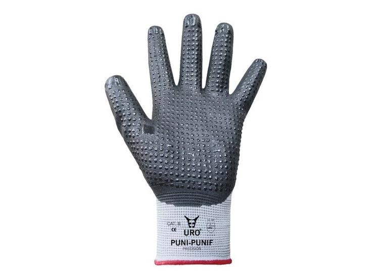 Guantes de nitrilo URO PUNI. Guantes de nitrilo con soporte poliéster regruesado. Impregnación completa. Nitrilo-poliuretano palma con puntos de mayor agarre.    http://www.mafepe.com/productos/ver/guantes-de-nitrilo-uro-puni