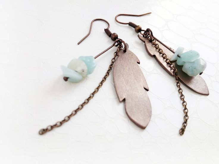 Bronze feathers, amazonite gemstones earrings by MercysFancy on Etsy