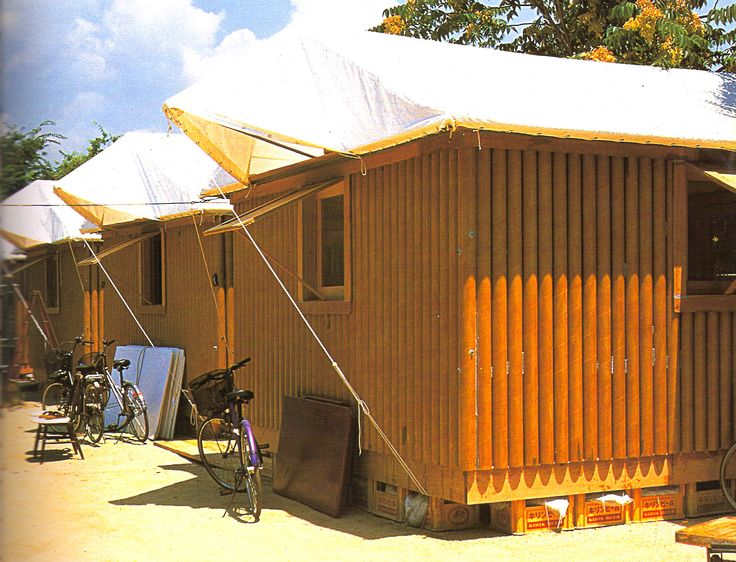 Shigeru Ban - paper log houses, 1995