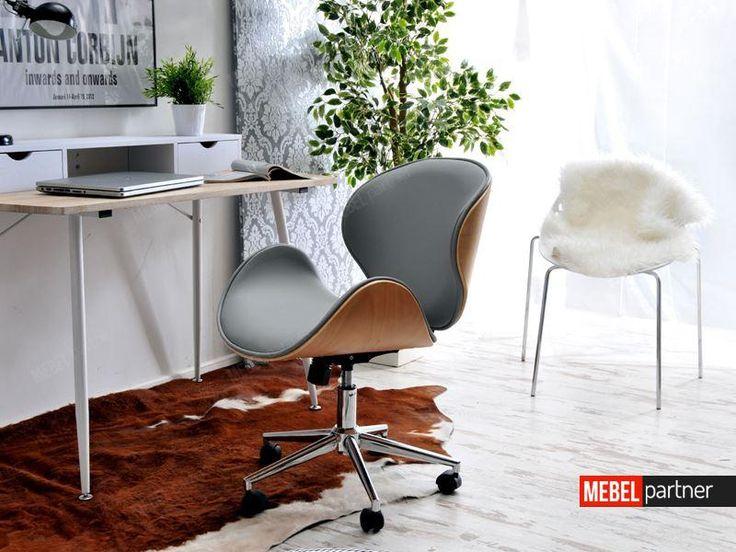 Designerski fotel do biurka z drewna i skóry BOOM bukowo szary.
