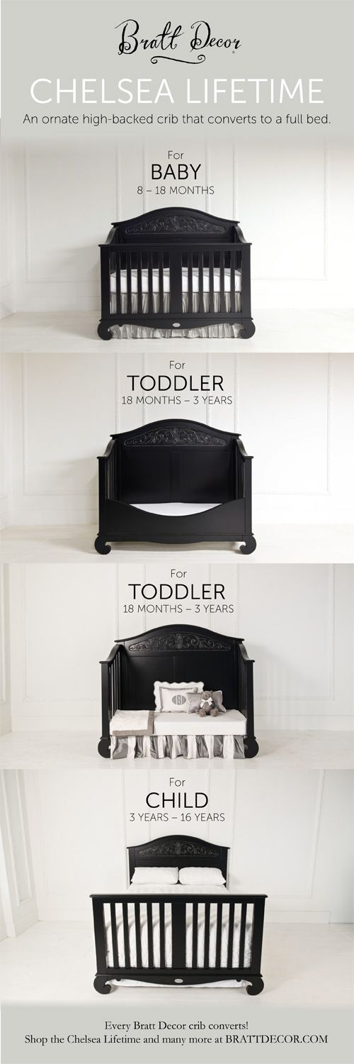 Chelsea Lifetime: Converts from a baby crib, toddler bed, love seat, & full sized bed!   #convertible #crib #toddlerbed #fullbed #nursery  https://www.brattdecor.com/products/chelsea-lifetime-crib-distressed-black.cfm