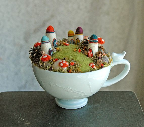 Needle Felted Tiny Fairy Houses and Village Waldorf
