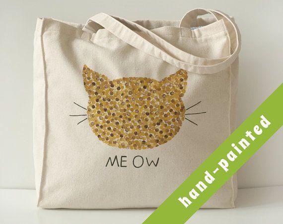 cat tote bag Cotton tote bag Eco bag cat bag cat tote by tsomoriri