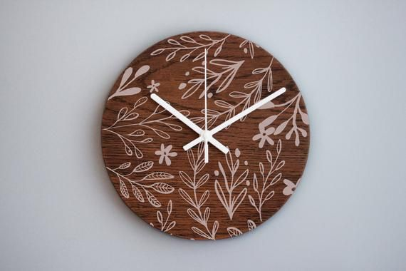 Wooden Wall Clock Clock Decor Kitchen Clock Art Wall Clock Floral Decor Non Ticking Clock Nursery Clock Rustic Decor Wooden Gift