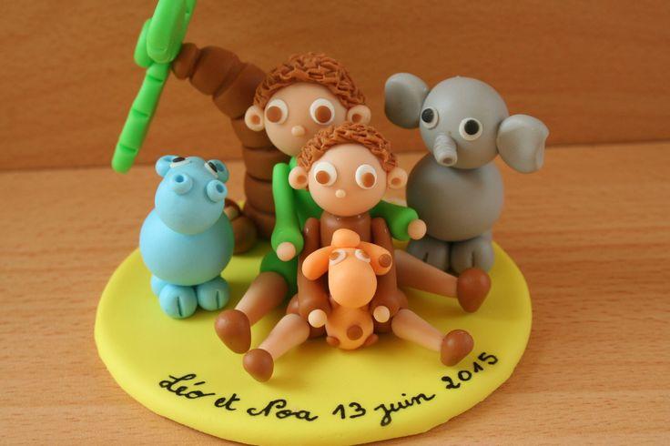 Décoration de gâteau/ table deux petits frères dans la jungle : Autres bébé par manoah