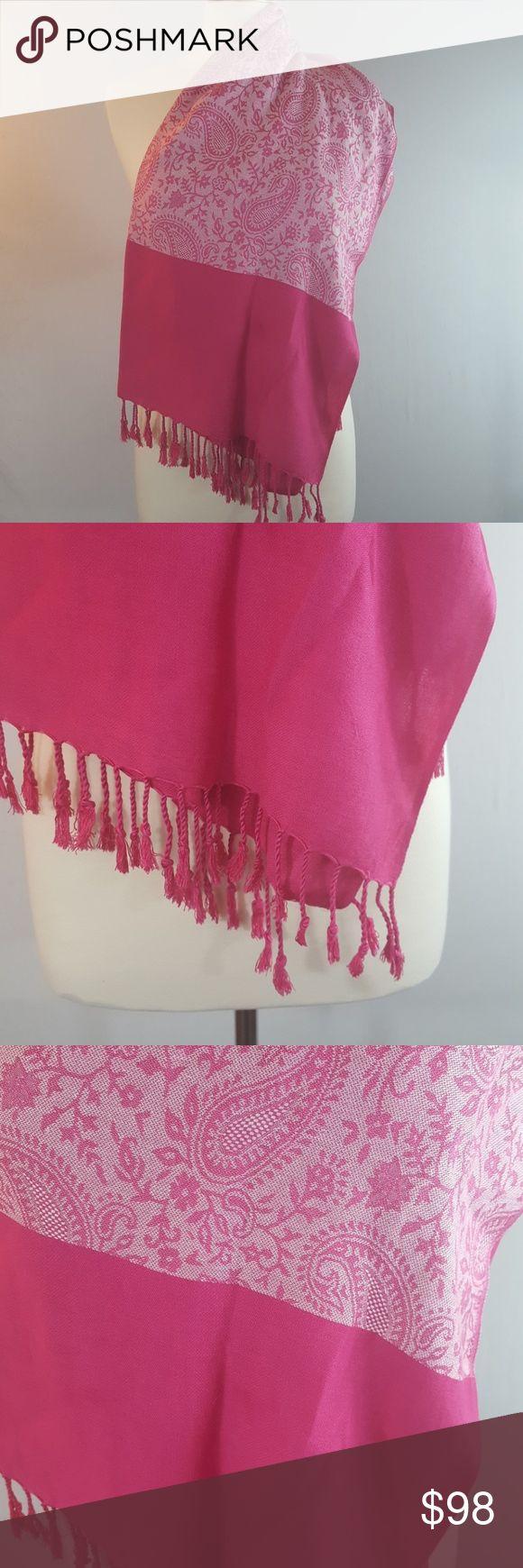 {pashmina} NWT Pink Paisley Shawl | Scarf Authentic Pashmina Kashmir Pink Paisley pattern 30x65 pashmina Accessories Scarves & Wraps