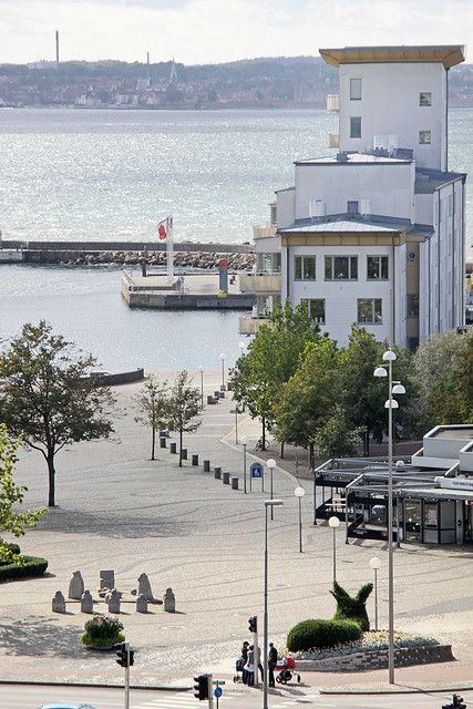 View towards the water and Denmark on the other side, Helsingborg, Sweden