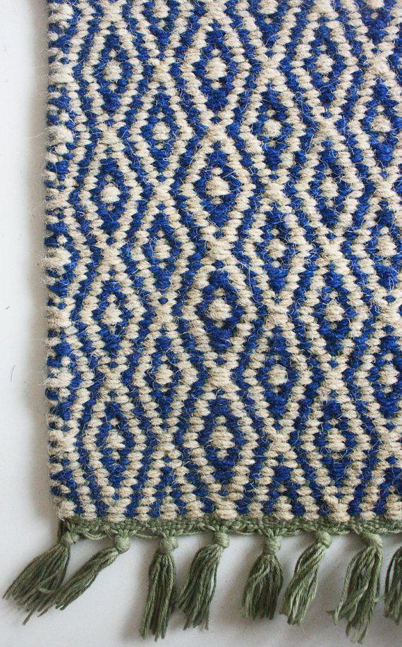 Amazing Carpet in Blue Diamonds 3x7 Feet by gypsya on Etsy