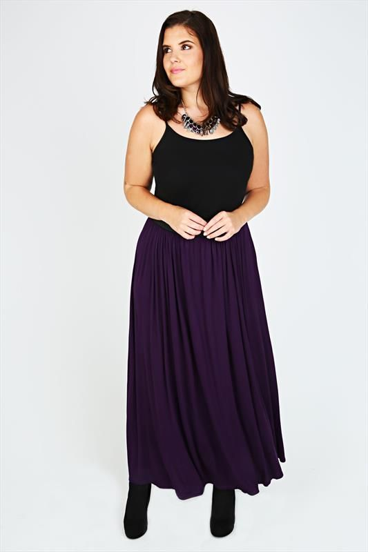 Purple Maxi Skirt With Elasticated Waistband plus size 14,16,18,20,22,24,26,28,30,32