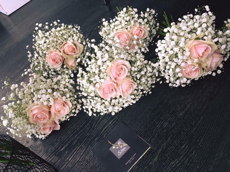 Pink roses and gypsophila bridesmaids bouquets  #weddings #lythamweddings #weddingflowers Www.thelythamweddingcompany.co.uk