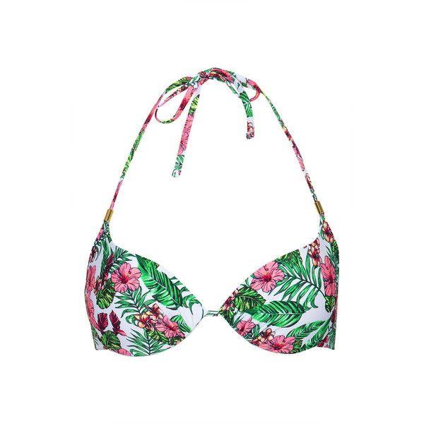TopShop Tropical Plunge Bikini Top (£16) ❤ liked on Polyvore featuring swimwear, bikinis, bikini tops, multi, swimsuits tops, beach wear, plunge bikini top, beach swimwear and beach bikini