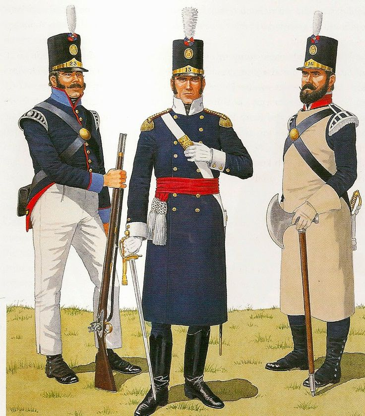 PORTUGUESE INFANTRY, 1810-1815          (Left) Grenadier Sergeant Infantry Regiment 23. 1813-15. (centre) Officer of the 13th Infantry Regiment, 1810-1815. (Right) Sapper's 16th Infantry Regiment.