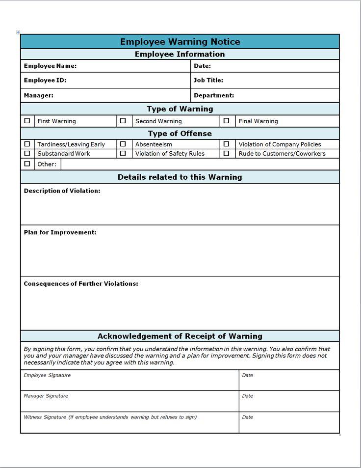 employee discipline form hitecauto - employee warning form