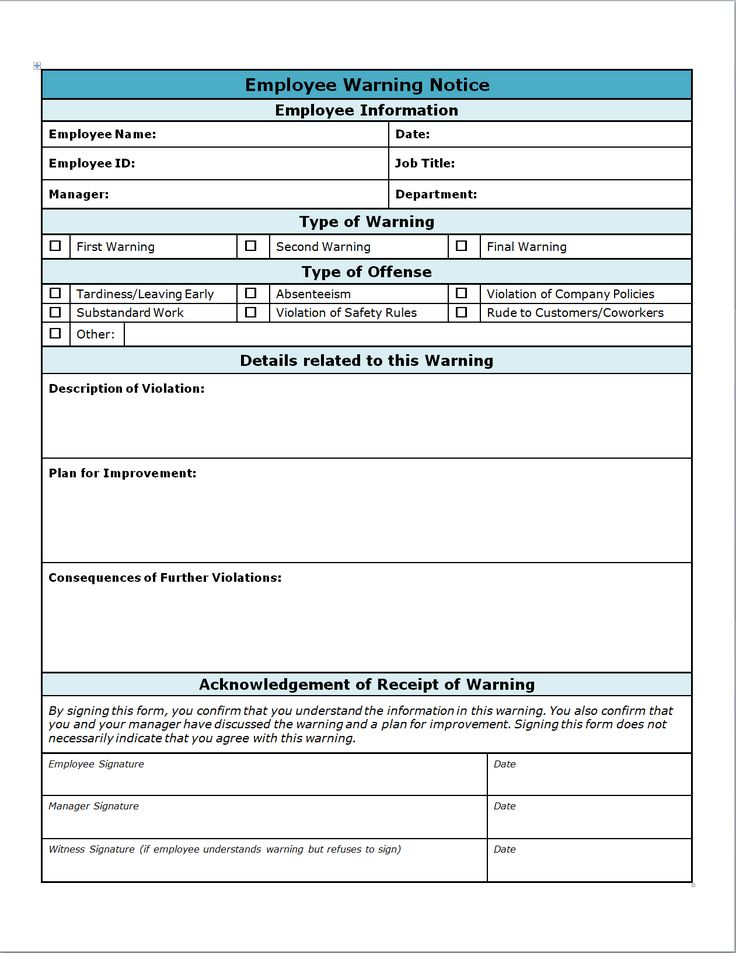 employer write up forms - Acurlunamedia