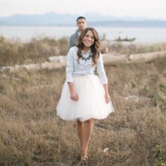 Clarisa - White Tulle Skirt, 7-layers Puffy Princess Tutu, Bridal Skirt, Midi Tulle Skirt, Adult Tutu, Bridesmaids Skirt, Engagement Skirt