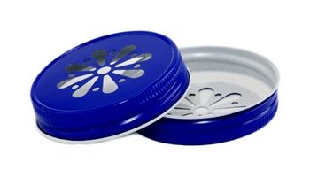 Royal Blue Daisy Canning Jar Lids - Pantone 286