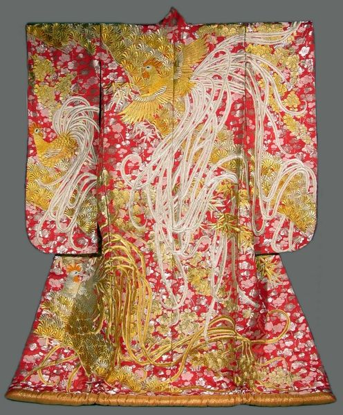 Object of the Day - Bridal Uchikake: This bridal over garment is made of embroidered silk and features golden roosters. Auspicious emblems of felicitations adorn bridal uchikake, and are carefully chosen to enhance the bride's image of gentility, grace and femininity. #japan #bridal #kimono