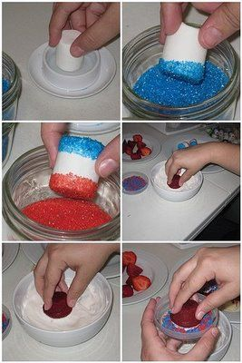Red white & blue marshmallows and mini red velvet cupcakes with white frosting and red & blue sprinkles <3