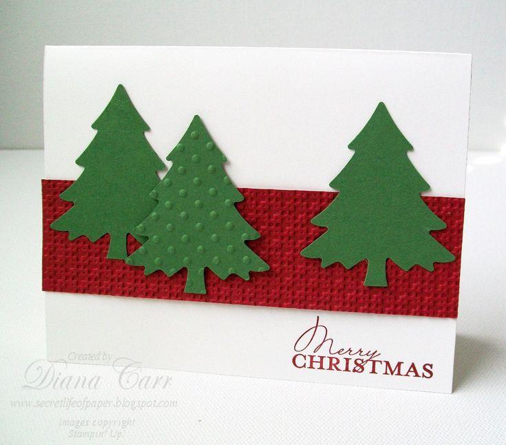 Handmade Christmas Cards (Set of 6) - Traditional Rustic Christmas Trees. $15.00, via Etsy.