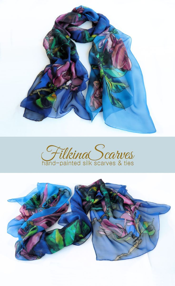 e89d2c640fef Christmas Gifts Inspiration   Hand Painted Silk Scarf Wedding Blue Pink  Chiffon Magnolia Floral Luxurious evening