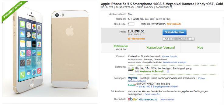 ebay WOW: Goldenes iPhone 5s 16GB mit Sofortversand! - http://apfeleimer.de/2013/11/ebay-wow-goldenes-iphone-5s-16gb-mit-sofortversand - Heutiges Ebay WOW: ein goldenes iPhone 5s mit 16GB ohne SIMlock und Netlock mit Sofortversand? Für 699 Euro (und somit zum gleichen Preis wie im Apple Store) könnt ihr das neue iPhone 5s in gold bei ebay per Sofortkauf ergattern. Der Versand erfolgt kostenfrei und sollte bei heutigem Z...