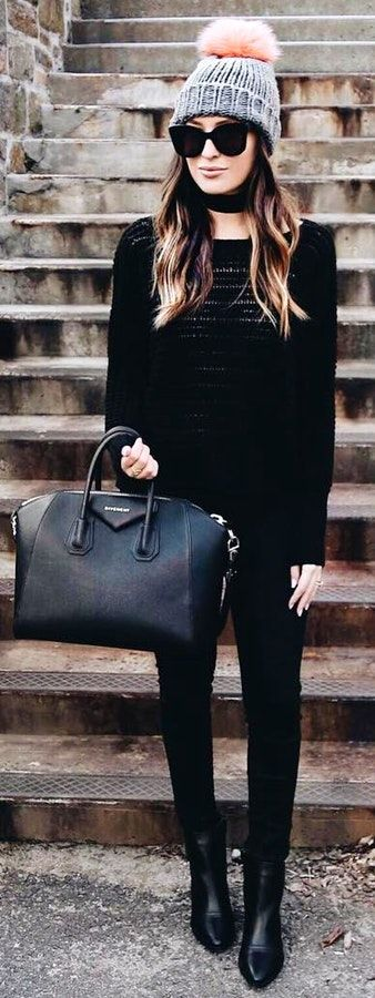 #winter #fashion /  Grey Beanie / Black Knit / Black Skinny Jeans / Black Leather Booties / Black Leather Tote Bag
