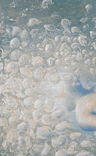 nuotatore d'abissi ( detail) .2009-2010 olio su tavola cm 32 x 68