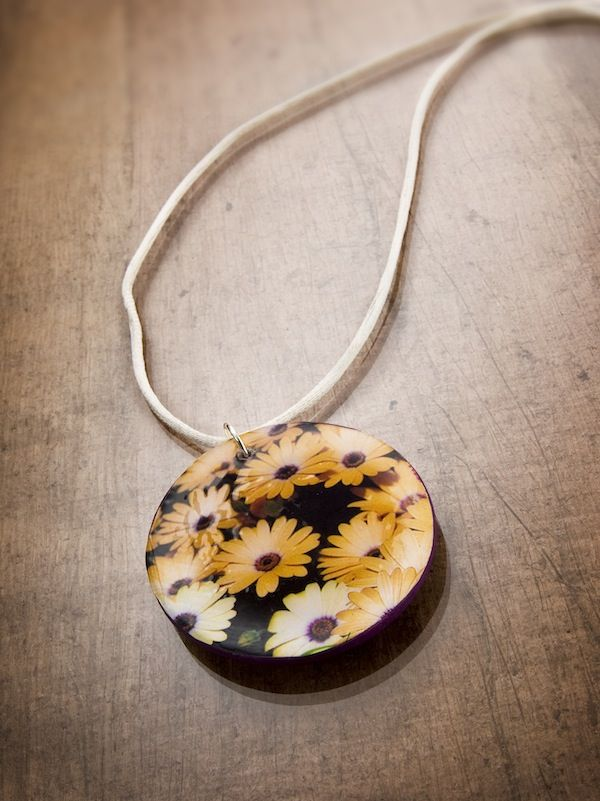 DIY floral necklace - using a dollar store seed packet
