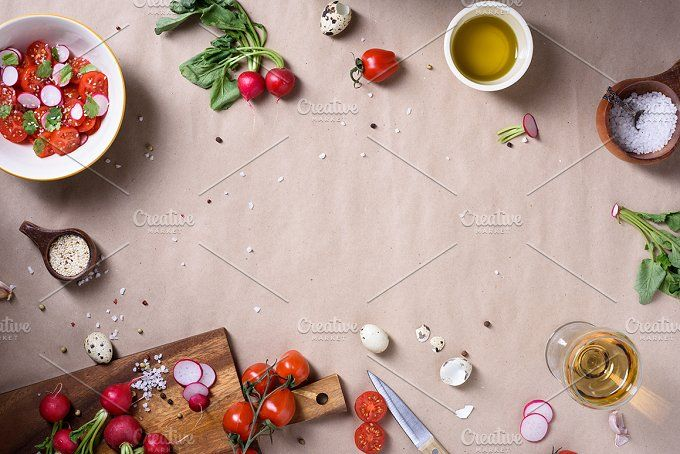 Healthy cooking background by Iuliia Leonova on @creativemarket