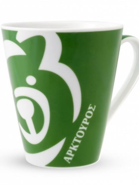 Κούπα με το λογότυπο του Αρκτούρου σε τρία χρώματα: πράσινο, πορτοκαλί, καφέ.  cforcraftshttp://www.cforcrafts.com/node/196