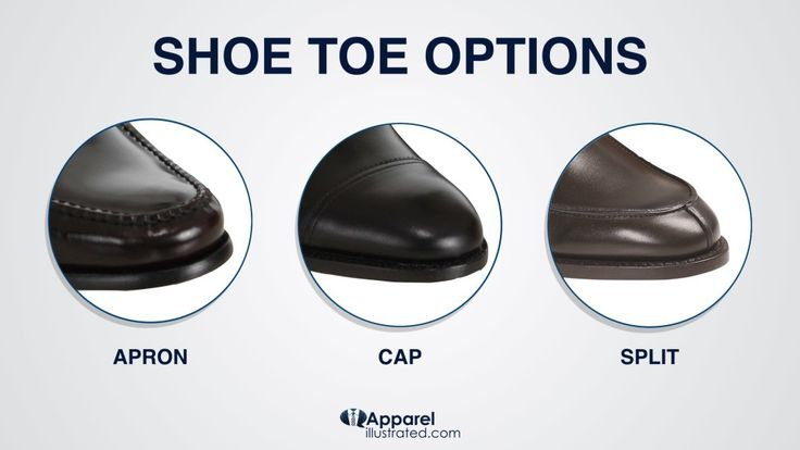 Dress Shoe Toe Options: - Apron Toe - Cap Toe - Split Toe  Learn more here: http://apparelillustrated.com/shoes-to-wear-with-jeans  Cheers, Vegard