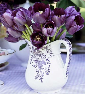 My favorite color is purple and I love this vase with the purple tulips.