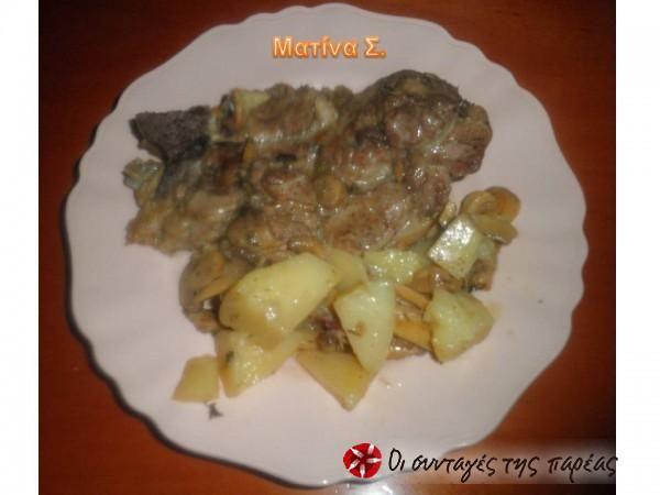 Μπριζόλες με πατάτες στην κατσαρόλα #sintagespareas