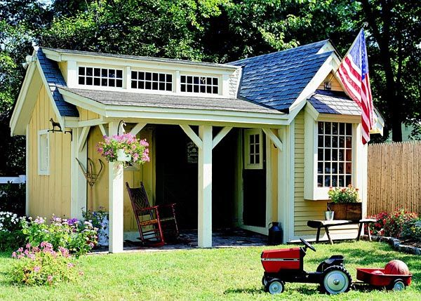 Pretty Porch Shed - Project Plan 501940 Features include an eye-catching blend of board-and-batten and clapboard siding, a shady porch that offers an irresistible place to relax, two storage rooms, and an extended section of roof out back to shelter the woodpile. This L-shaped building measures 180 square feet. It is 13 feet tall, and its footprint measures 15 x 17.