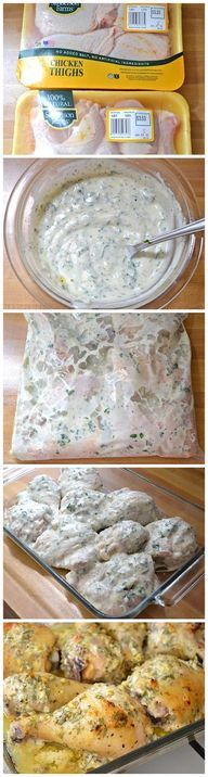 Greek Marinated Chicken ~ 1 cup plain yogurt 2 Tbsp olive oil 4 cloves garlic, minced ½ Tbsp dried oregano 1 medium lemon zest juice from 1/2 lemon ½ tsp salt freshly cracked pepper ¼ bunch fresh parsley 3½ to 4 lbs chicken pieces ~ Combine marinade. Place pieces in marinade in gallon ziplock. Bake 375 45-60 minutes or grill