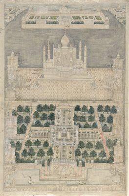 Char Bagh (Quadrant Garden) at the Taj Mahal. 1750. drawing Mughal India