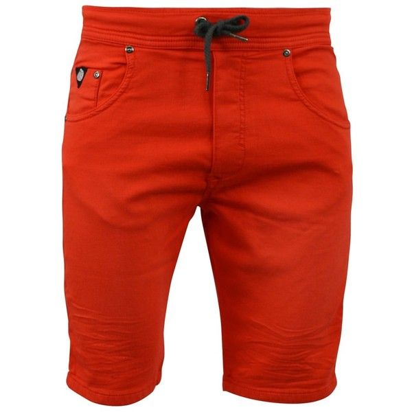 Watts Watts Red Man Shorts Ribbs Jogg Jeans   Bluefly.Com ($39) ❤ liked on Polyvore featuring men's fashion, men's clothing, men's jeans, red and mens red jeans