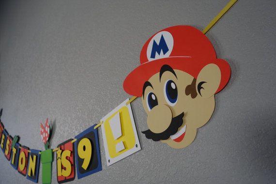 Super Mario Birthday Banner by BannersAndStuff on Etsy