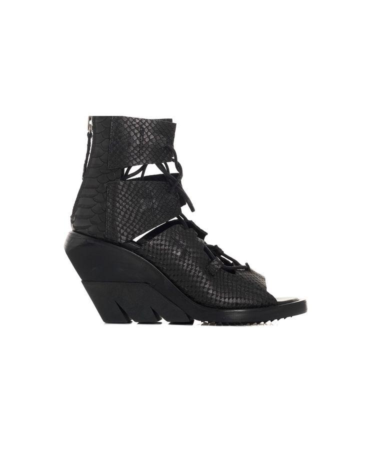 CINZIA ARAIA PYTHON SANDALS S/S 2016 Black leather lace-up sandals openings on the shoe upper  back zipper closure black rubber sole  wedge: 10 cm