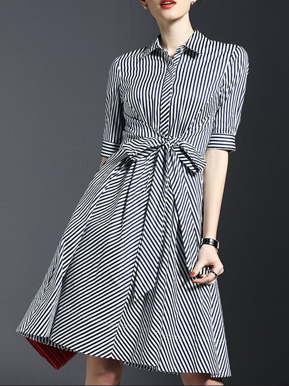 White Lapel Tie-Waist Striped Dress