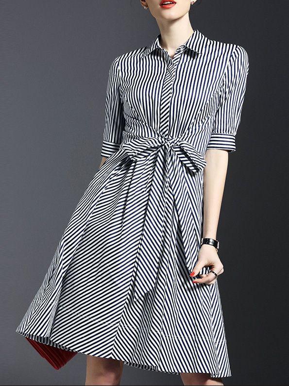 White Lapel Tie-Waist Striped Dress