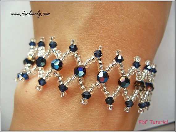 Beaded Bracelet Pattern  Metallic Blue Netted Bracelet